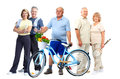 Group Of Elderly Fitness People With Bicycle. Royalty Free Stock Images - 59089549