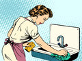 Woman Cleans Kitchen Sink Cleanliness Housewife Stock Photography - 59095972