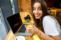 Woman Working Online With Coffee Cup Stock Photo - 59096970