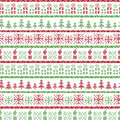 Green And Red Christmas Nordic Pattern In Including  Xmas Gifts, Candles, Snowflakes, Stars, Decorative Ornaments In Scandinavian Stock Photography - 59130252