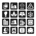 Silhouette Power, Energy And Electricity Icons Royalty Free Stock Image - 59132536