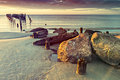 Remains Of Old Broken Pier, Baltic Sea, Latvia Royalty Free Stock Image - 59141476