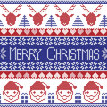 Dark Blue And Red Scandinavian Merry Christmas Pattern With Santa Claus, Xmas Presents, Reindeer, Decorative Ornaments,  Snowflake Stock Photo - 59166670