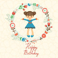 Cute Happy Birthday Card With Happy Girl In Floral Stock Image - 59170161