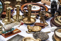 Second Hand Brass Candle Holders At Antique Dealer Show Royalty Free Stock Photography - 59177637