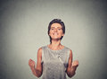 Happy Woman Exults Pumping Fists Ecstatic Royalty Free Stock Photography - 59189577