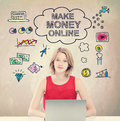 Make Money Online Concept With Young Woman With Laptop Stock Image - 59189691
