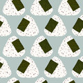 Onigiri (japanese Rice Ball) With Sesame Seeds. Seamless Pattern. Royalty Free Stock Images - 59189729