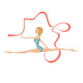 Beautiful Gymnastic Girl Performing With Ribbon Stock Image - 59194191