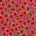 Seamless Pattern With Leafs And Red Roses In Vintage Style. Vect Stock Photos - 59215463