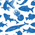 Marine Life Seamless Texture. Fish Background. Underwater Patter Royalty Free Stock Photography - 59219087