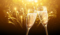 New Year Fireworks And Champagne Stock Photography - 59219592
