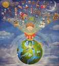 Little Boy Sitting On The Planet And  Reading  Book Stock Images - 59220284