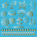 Hand Drawn Sea Animals And Nautical Symbols Tattoo Set Outline Nautical Icons Royalty Free Stock Photos - 59225728