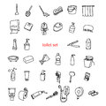 Illustration Vector Hand Drawn Doodles Of Objects In Toilet Set. Stock Photos - 59227443