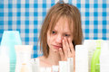 Girl Is Weeping In Bathroom In Front Of Cosmetic Products Royalty Free Stock Photos - 59237728
