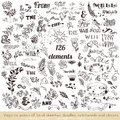 Set Of Vector Hand Sketched Doodles, Catchwords And Ribbons Stock Images - 59241664