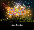 Happy New Year 2016 Night Silhouette Fireworks Colourful 301 Stock Photography - 59242312