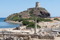 Ancient Spanish Tower Of Coltellazzo And Old Town Nora Stock Photos - 59257833