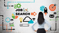 Rear View Of The Brunette Woman Who Is Looking At The Wall With Colourful Icons About Job Vacancies. Stock Images - 59272214