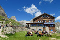 Refugio Hutte Restaurant In The Alps Royalty Free Stock Images - 59274909