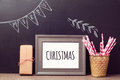 Christmas Poster Mock Up Template Over Chalkboard Background Stock Image - 59281141