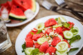 Watermelon Salad With Cucumbers And Herbs Stock Photos - 59290653