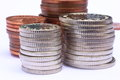 Used Silver And Copper Coins Stacked Stock Photos - 59294223