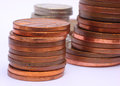 Used Coins Stacked Stock Photo - 59294320