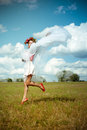 Girl In Flower Wreath With White Shawl Dancing On Royalty Free Stock Photo - 59298695