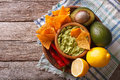Corn Chips, Sauce Guacamole And Ingredients. Horizontal Top View Stock Photography - 59314292