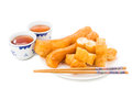 Fried Bread Stick Or You Tiao Served With Chinese Tea. Royalty Free Stock Images - 59322329