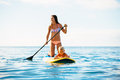 Mother And Son Stand Up Paddling Together Stock Photo - 59332020