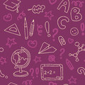 Seamless Pattern With Set Of Different School Things Royalty Free Stock Image - 59335256