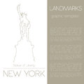 World Landmarks. New York. USA. Statue Of Liberty. Graphic Template Royalty Free Stock Images - 59383739