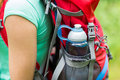 Close Up Of Woman With Water Bottle In Backpack Royalty Free Stock Photo - 59401585