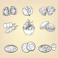 Doodle Pencil Drawing Of Japanese Traditional Cuisine Dessert Fo Stock Photos - 59429333