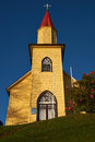 Yellow Church In The Chilean Lake District Stock Photography - 59439722