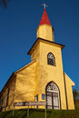 Yellow Church In The Chilean Lake District Royalty Free Stock Image - 59440946