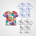 Set Of Three T-shirts With Abstract Funny Monsters. Royalty Free Stock Photography - 59450637