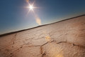Dry Lake Under A Blue Sky And Sun Royalty Free Stock Photo - 59464055
