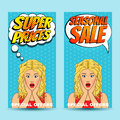 Pop Art Comic Sale Discount Promotion Banners With Surprised Woman With Open Mouth And Bubble Royalty Free Stock Photography - 59465017