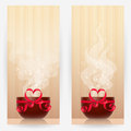 Backgrounds With Cups And Heart-shaped Bows Royalty Free Stock Image - 59467446
