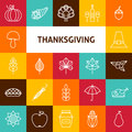 Line Art Thanksgiving Day Holiday Icons Set Royalty Free Stock Photos - 59478138