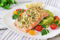 Baked Salmon With Cheese And Almond, With Mashed Potatoes And Green Peas Royalty Free Stock Photos - 59482968