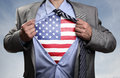 Superhero Businessman Revealing American Flag Royalty Free Stock Image - 59485146