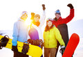 Snowboarders Extreme Skiing Friends Winter Concept Royalty Free Stock Images - 59497699