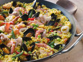 Seafood Paella In A Paella Pan Royalty Free Stock Photography - 5950767