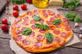 Traditional Homemade Pepperoni Pizza With Salami Royalty Free Stock Photos - 59501648
