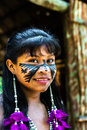 Native Brazilian Girl Smiling At An Indigenous Tribe In The Amazon Royalty Free Stock Image - 59520726